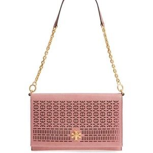 Tory Burch Kira Perforated Leather Clutch/Handbag